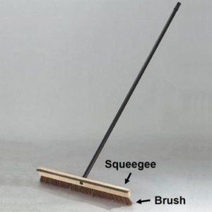 driveway sealcoating uses a double sided brush & squeegee to spread the sealer