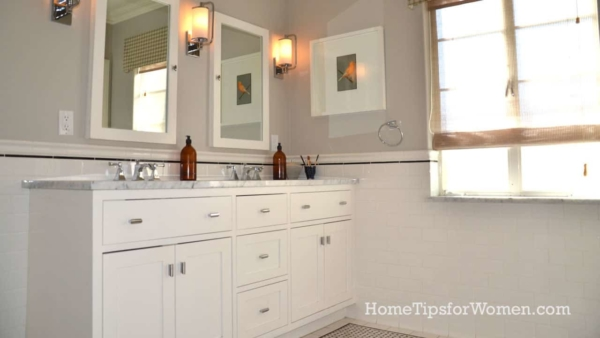 custom cabinets are sometimes the best solution for a small bathroom remodel, with cabinets that are only 12 or 15 inches deep