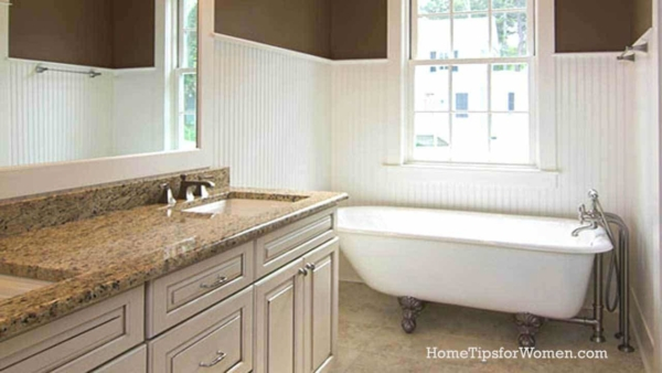 a small bathroom remodel is challenging as you've got to squeeze a lot of fixtures into limited space but somehow, they got a clawfoot tube into this bathroom design