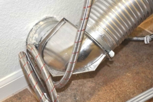 dryer duct work must be properly vented & cleaned periodically to prevent fires from the lint that gets trapped inside