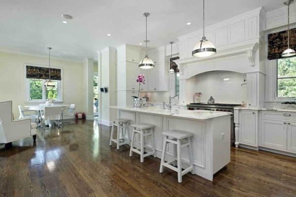 white marble texture is a common choice for kitchen countertops