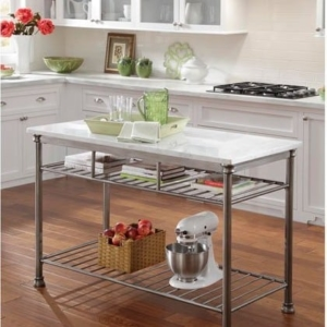 a kitchen island with a marble top is great for those who like baking