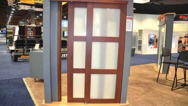 sliding door with opaque glass so sunlight can shine through
