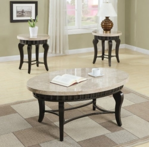 white marble works well for coffee tables & end tables