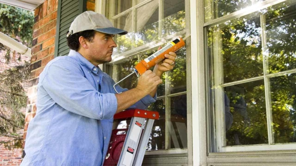 you need to consider where to caulk, inside & outside like exterior windows to keep wind from blowing indoors
