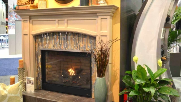 fireplace design trends don't dictate the materials you use, so get creative like the tile here