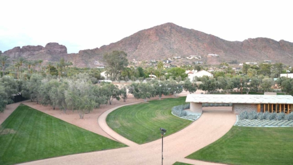 amazing views of the grounds & nearby Camelback Mountain, from this mid-century house designed by Frank Lloyd Wright
