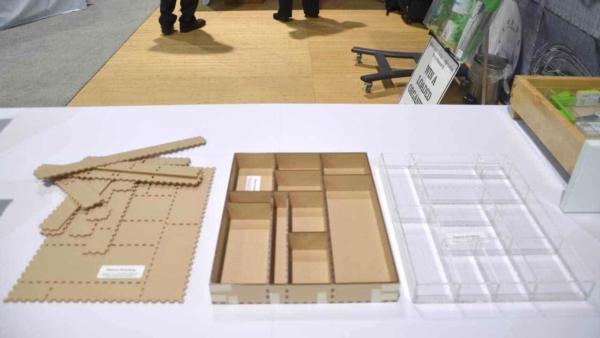 my organized junk drawer made from custom acrylic pieces by OrganizeMyDrawer.com