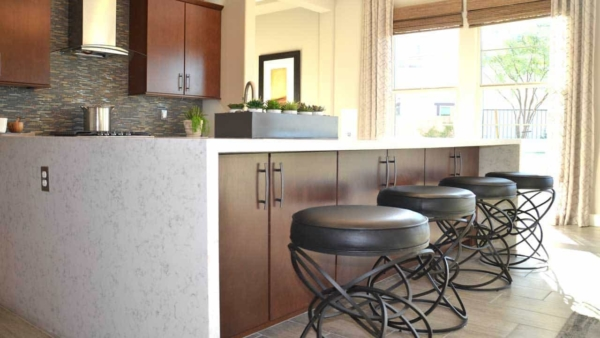 finally able to photograph the new waterfall kitchen island design at a model home