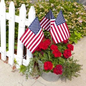 sticking smaller flags in a flower pot is a good alternative to hanging a flag