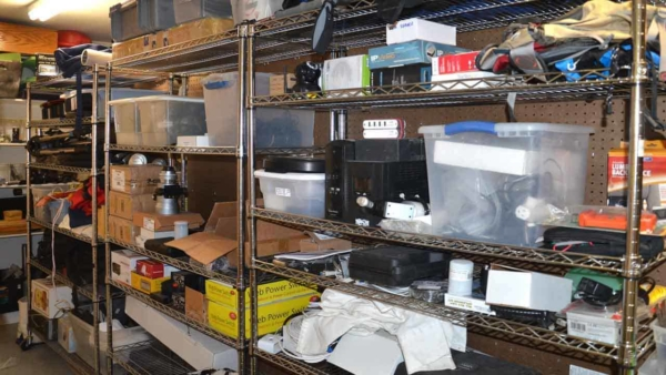 a garage workshop needs lots of storage like these rolling shelf units that are very popular