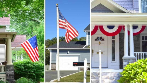 there are many different ways for hanging a flag in front of your house
