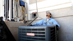 this hvac installation requires booming the old condenser out & the new one into the backyard