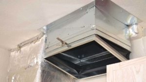 the plenum connects the air handler to the ductwork, connecting the central air conditioner components