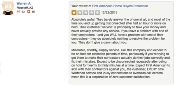 a typical complaint from a homeowner who has learned not to trust their home warranty company, First American