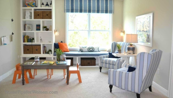 Play Room Loft Built In Bookcases Window Seat