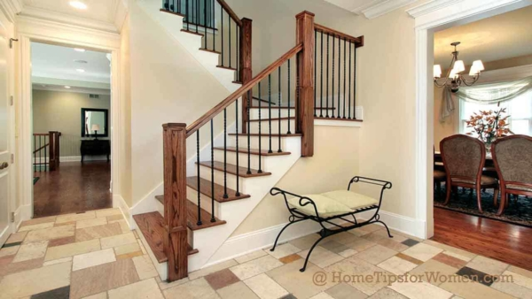 snowy winter boots won't damage a tile floor, making it ideal for entryways