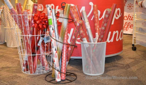 a tall basket or garbage can, is one of the simplist wrapping paper organizer