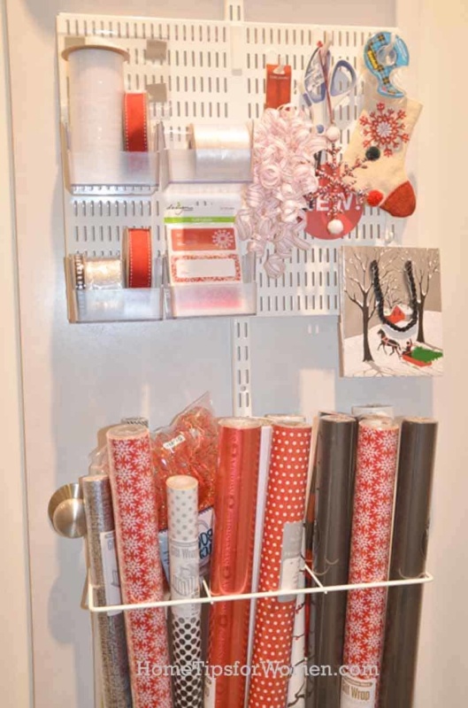lots of choices for a wrapping paper organizer at the container store