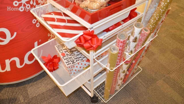 Wrapping paper organizer that also holds ribbon, scissors, tap, cards & so much more ...