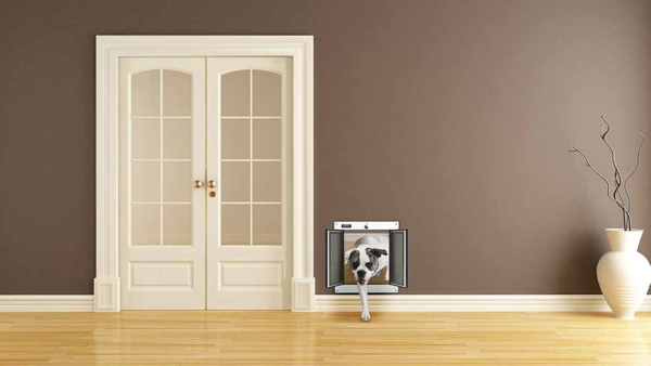 it's easier to repair drywall than replace a door after you've put a pet door in it