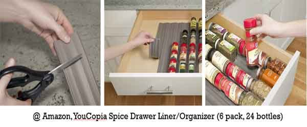 a spice drawer liner from YouCopia offers great kitchen drawer organization so you can find your spices easily
