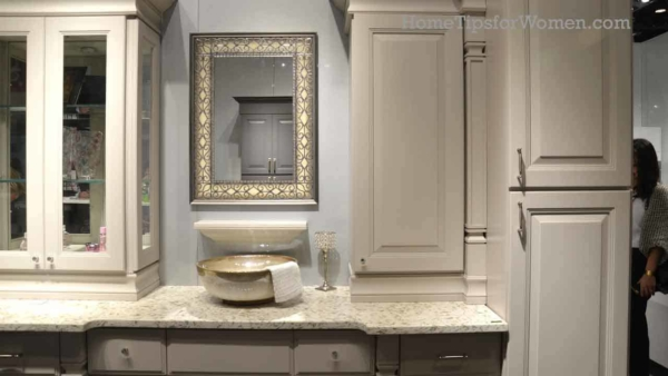 bathrooms with upper cabinets allow for lots of storage hidden or not