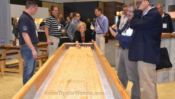 just like relaxing at home, a home show for professionals needs ways to slow down & relax for a few minutes of ... shuffleboard?