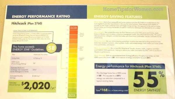 here's an example of a HERS home energy score from a Meritage model home in Phoenix, Arizona