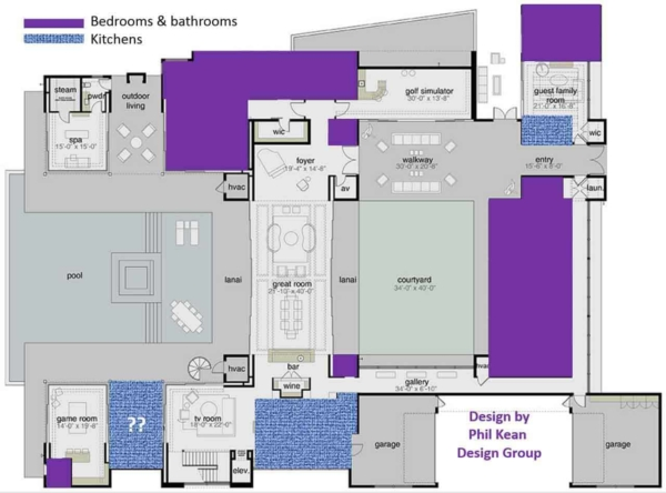 the New American Home floor plan showing how little space is used for typical rooms in a house