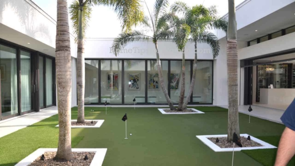 an active lifestyle for a dedicated golfer could include a putting green like this one