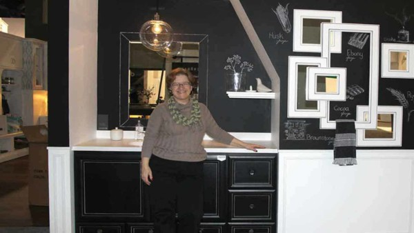 having fun at KBIS 2016, where they used chalkboard paint in one kitchen exhibit